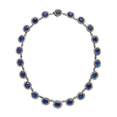 English Antique Sapphire and Diamond Cluster Necklace