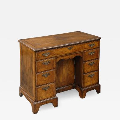 English Antique Walnut Ladies Kneehole Desk