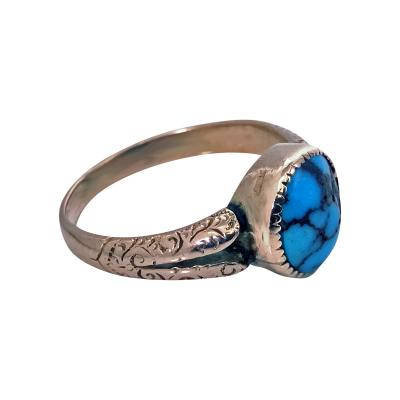 English Arts Crafts Gold Turquoise Ring Birmingham 1906