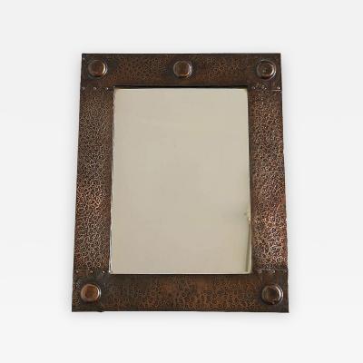 English Arts Crafts Hammered Copper Mirror