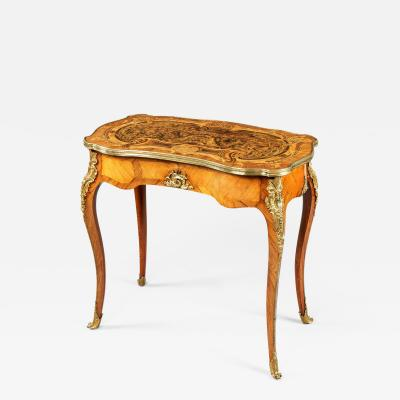English Burr Oak and Marquetry Occasional Table 19th Century