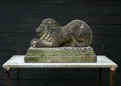 English Cast Stone Recumbent Lion on Stepped Plinth