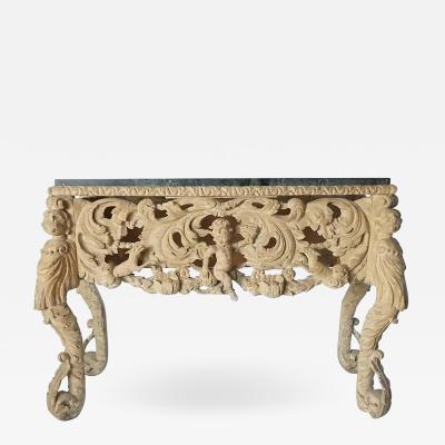 English Charles II Elaborately Carved Wood Marble Top Console