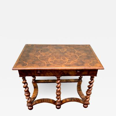 English Charles II Oyster Burled Olive Wood And Walnut Table 1690