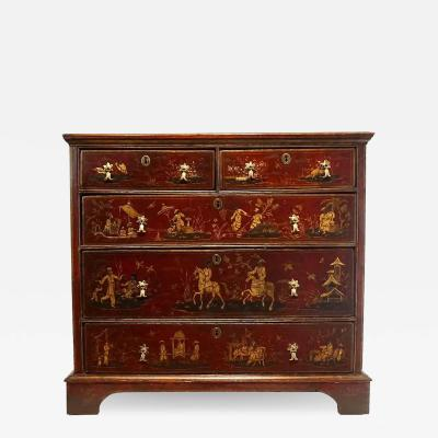 English Chinoiserie Red Japanned Chest of Drawers