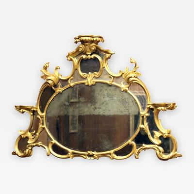 English Chippendale Gilt Overmantle Mirror