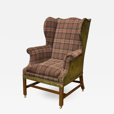 English Classic Leather and Plaid Wing Chair
