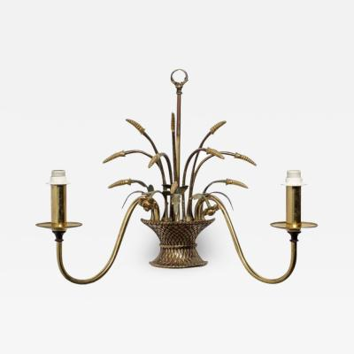 English Country Flower Basket Brass Two Light Sconces