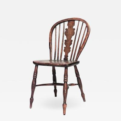 English Country Walnut Windsor Side Chair