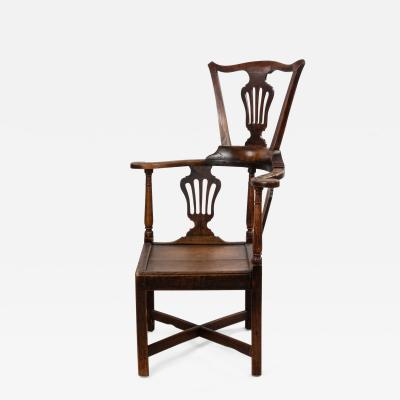 English Country Yew Wood Arm Chair