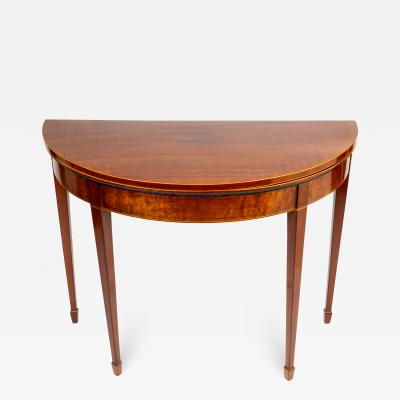 English Demi Lune Flip Top Game Table