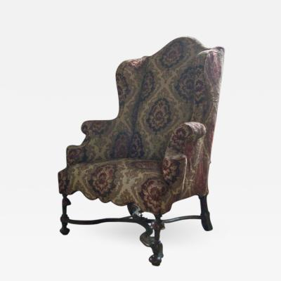 English Early 18th Century William Mary Wingback Chair