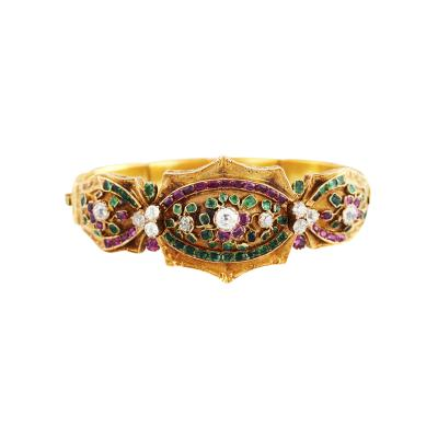 English Early 19th Century Gem Set Gold Bracelet
