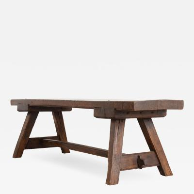 English Early 19th Century Thick Oak Bench