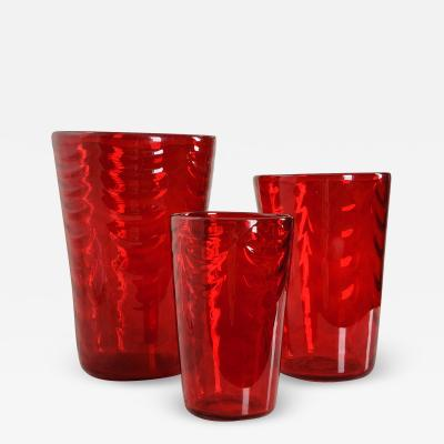 English Early 20th Century Red Glass Vases