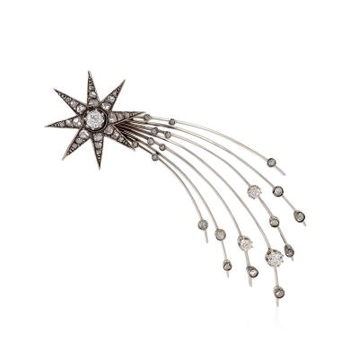 English Edwardian Diamond Silver and Gold Halleys Comet Brooch