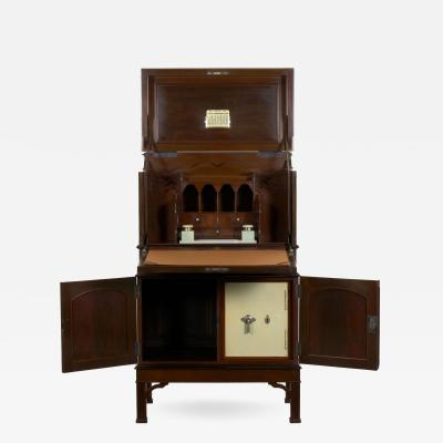 English Edwardian Mahogany Fall Front Secretary Desk with Built In Safe c 1900