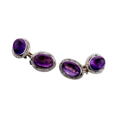 English Edwardian Platinum Gold Diamond and Amethyst Cuff Links