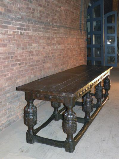 English Elizabethan Oak Long Eight Melon Refectory Table