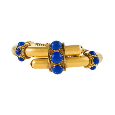 English Etruscan Revival Lapis Lazuli and Gold Cross Over Bracelet