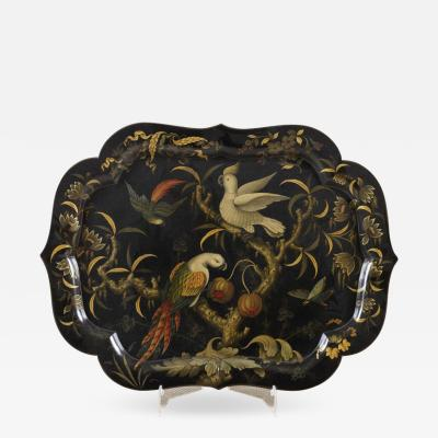 English Exceptionally Beautiful Flora and Fauna Finely Painted Paper Mache Tray