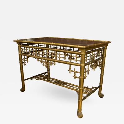 English Faux Bamboo Table with Inliad Leather Top