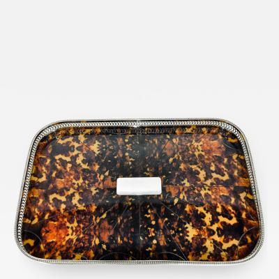 English Faux Tortoise Footed Tray