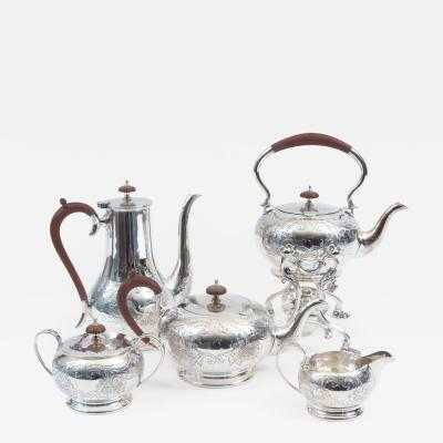 English Five Piece Silver Plate Tea or Coffee Service with Wood Handle