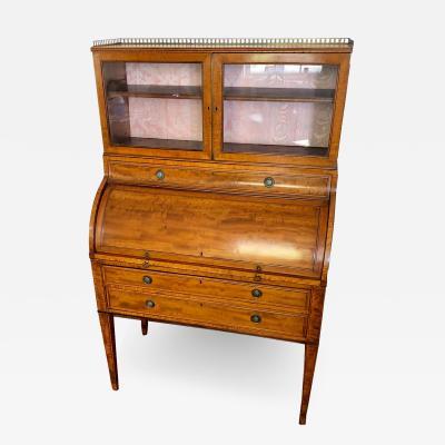 English George III Period Satinwood Cylinder Desk Secretaire