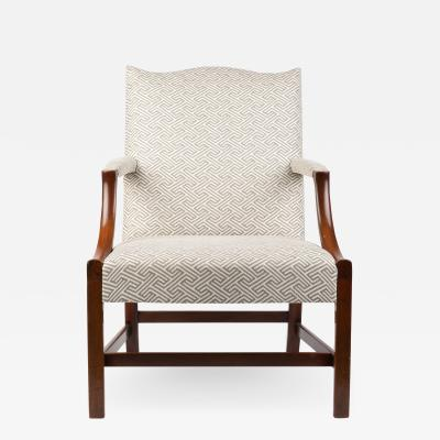 English George lll style upholstered mahogany arm chair