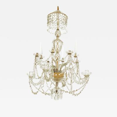 English Georgian Crystal and Brass Chandelier