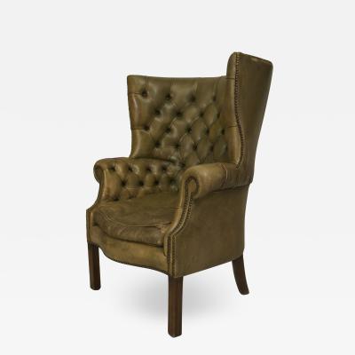 English Georgian Green Leather Wing Chairs