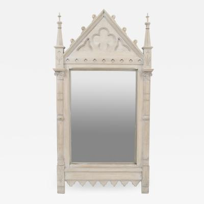 English Gothic Revival Late 19th Cent Bleached Oak Wall Mirror