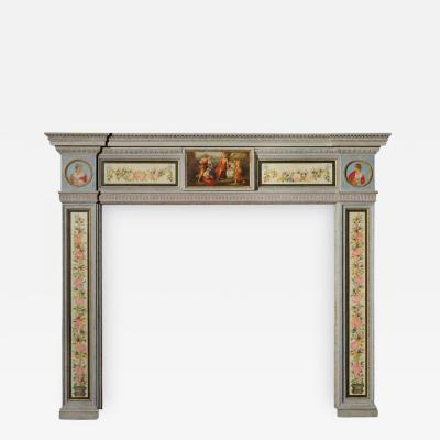 English Hand Painted Fireplace Mantel in the Neoclassical Style