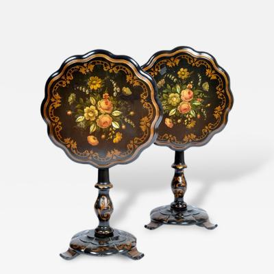 English Hand Painted Tilt Top Tables Pair 19th Century