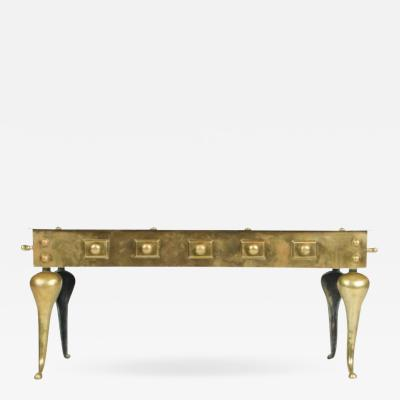 English Heavy Solid Brass Footman Bench or Coffee Table circa 1890