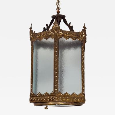 English Hexagonal Brass Hallway Lantern