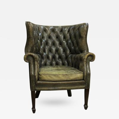 English Leather Tufted Wing Chair