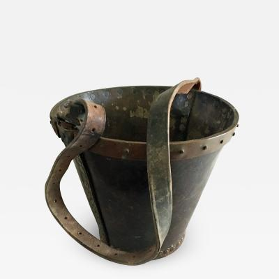 English Leather and Copper Fire Bucket
