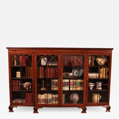 English Low Mahogany Bookcase From 19th Century