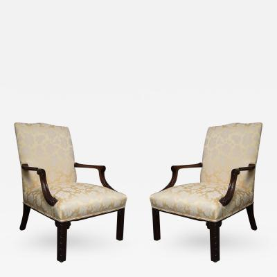 English Mahogany Upholstered Library Chairs