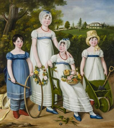 English Na ve School Portrait of Four Children in a Country Landscape