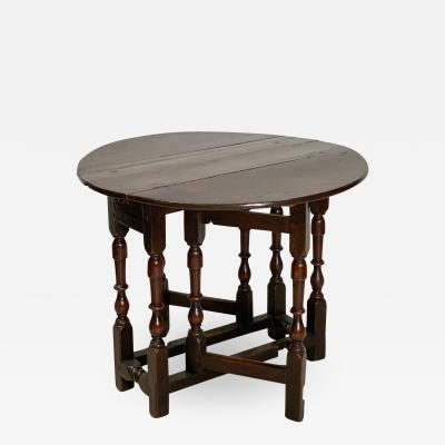 English Oak Drop Leaf Table Circa Early 18th Century