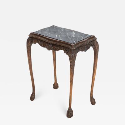 English Oak Faux Marble Lion Paw Side Table