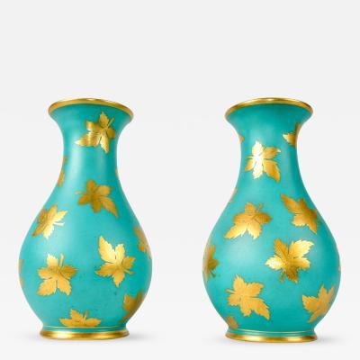 English Pair Porcelain Turquoise Vases