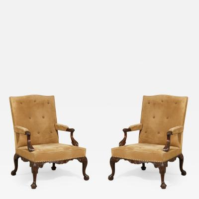 English Pair of Chippendale Period Library Gainsborough Chairs by Paul Saunders
