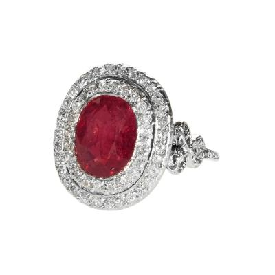 English Platinum Burmese Ruby and Diamond Ring
