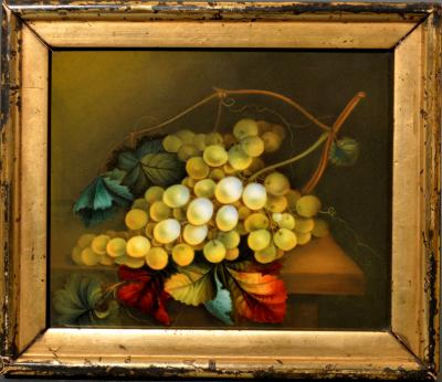 English Porcelain Still Life Plaque Depicting Green Grapes on a Table Top