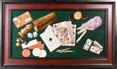 English Porcelain Still Life plaque depicting Various Game pieces