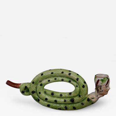 English Pottery Coiled Snake Pipe Circa 1810